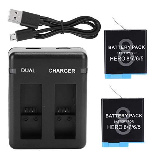 FOLOSAFENAR Cargador Dual USB de Larga duración, Descarga Estable, batería de cámara de Video Duradera para GoPro Hero 5/6/7/8