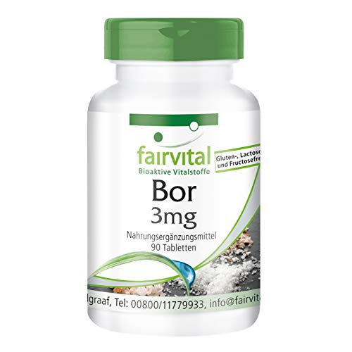 Boro 3mg - Tetraborato de Sodio (Boron) - Suplemento VEGANO - Oligoelemento - 90 Comprimidos - Calidad Alemana
