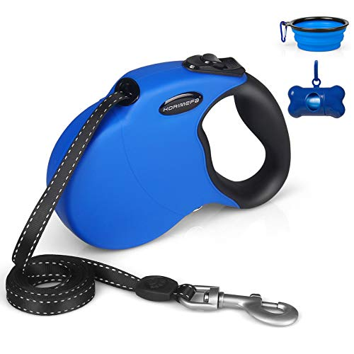 KORIMEFA Retractable Dog Leash Tangle Free One Handed Brake Heavy Duty16.4ft Reflective Nylon Tape Anti-Slip Handle Extending Dog Walking Leash for Pet up to110lbs.Free Waste Bag +Travel Bowl (Blue)