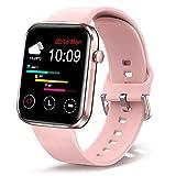 Ezanaki Smart Watch, 1.69' Smartwatch mit Schrittzähler, Fitnessuhr IP67 Wasserdicht Sportuhr, Fitness Armbanduhr mit Herzfrequenz, Kalorien, Musiksteuerung, Aktivitätstracker für Android iOS Rosa