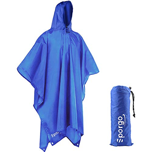 Sporgo Regenponcho, 3-in-1 Multifunktionales Regencape Regenjacken Regenponcho für Wandern, Reisen, Bivouacs und Aktivitäten im Freienn
