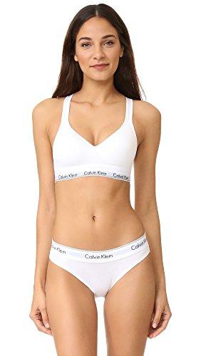 Calvin Klein Underwear Women's Modern Cotton Lightly Lined Bralette, White, Large