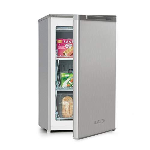 Klarstein Garfield XL Silver Edition - Congelador, clase de eficiendcia energética F, Volumen interior 75 L, Temperatura graduable en 4 niveles, Pies regulables, Sonido 39 dB, Gris/plateado