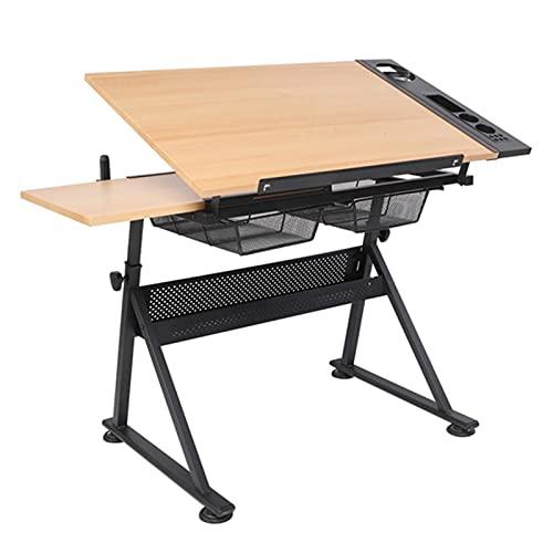 ASDFGHT Mesa de dibujo de hierro plegable, hecha de materiales sólidos y duraderos utilizados para pintar el escritorio (color: A, tamaño: 62,3 x 23,6 x 31,4)