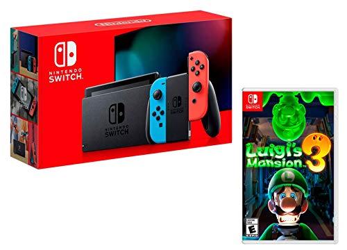 Nintendo Switch Rouge/Bleu Néon 32Go [nouveau modèle] + Luigi's Mansion 3