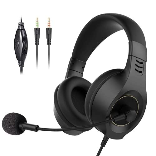 DOUBEI Auriculares Auriculares con Cable con micrófono 3.5 mm para PC con Control de Volumen Suave para centros de Llamadas Trabajo de Negocios E50