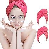 Hairizone, Asciugamano per Capelli in Microfibra, ultrassorbente, Turbante per Avvolgere i Capelli con Cappio Elastico, per Tutti Gli Stili di Capelli (ROSEO/ROSEO), 2 Pezzi