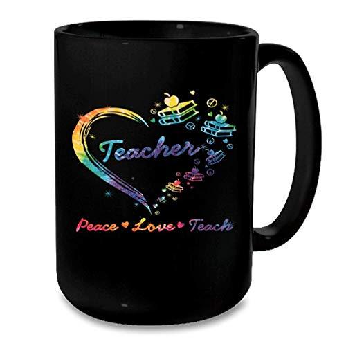 N\A Peace Love Teach Teacher Book Disfraz Corazn Regalo Tie Dye Taza Negra Tamao Negro Talla nica