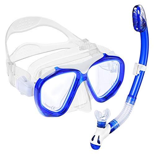 OMORC Schnorchelset Erwachsene, Taucherbrille mit Schnorchel 180°, Schnorcheln Set Anti-Fog für Männer Frauen, Tauchen und Schnorcheln Blau