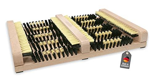 Lantelme Schuhabtreter 36 x 27 x 5,5 cm Schuhabstreifer außen Holz mit Seitenleisten für die perfekte Reinigung Ihrer Schuhe (Beige)