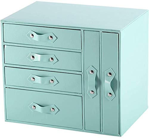 Jewelry Box Organizer, Mujeres Mostrar Almacenamiento Organizador Caja de la Caja Caja de Regalo para la Pulsera de Anillo Reloj Collar JUBC (Color : Azul)