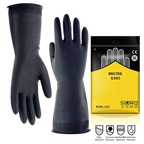 "Chemical Resistant Gloves,Safety Work Cleaning Protective Heavy Duty Industrial Gloves,Natural Latex 12.2"" Length Black 1 Pair Size M (Medium)"