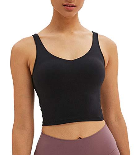 DODOING Sport-BHS für Damen Gepolstert Bustier BH ohne Buegel Push Up Yoga-BH Laufe Oberteil Longline Sport-Bra Fitness Tanktops