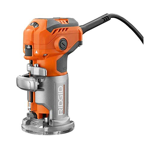 Ridgid 5.5 Amp Corded Compact Power Trim Router With Micro Adjust Dial R24012 (Renewed)