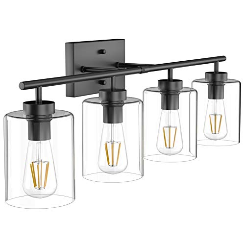 Aipsun 4 Lights Black Bathroom Vanity Light Over Mirror with Clear Glass Shades Industrial Bathroom Light Fixtures (Exclude Bulb)