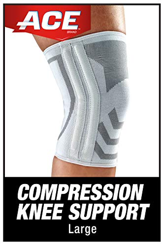 ACE-382902073550 Compression Knee Brace with Side Stabilizer, Satisfaction Guarantee, Large-Grey-1 Count (Pack of 1)