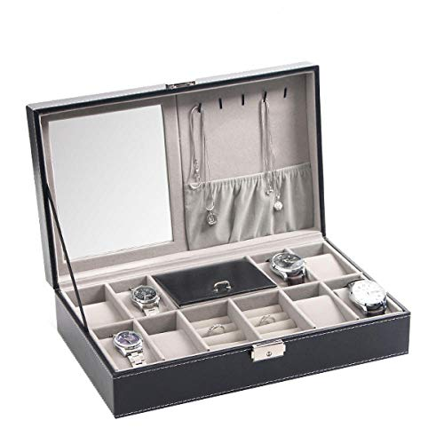 FIONAT Uhrenbox Schmuckkästchen Herren Damen Geschenk Reisen Kunstleder Herren Display Aufbewahrungsbox Mit Schloss, Einlagiger Schmuck