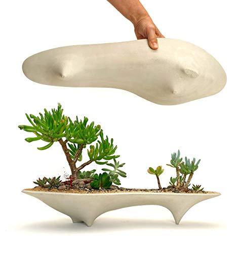 Island Concrete Modern Planter   long succulent planter