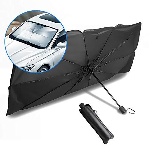 MLADEN 車用サンシェード サンシェード傘 車 遮光 遮熱 断熱シート UVカット カーサンシェード フロントグラス 折り畳み可能 収納ポーチ付き (L)