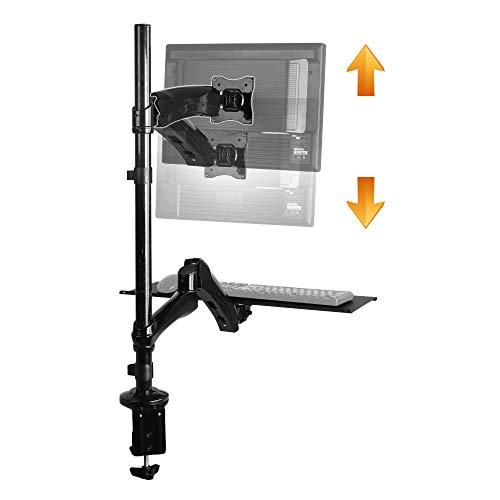 RICOO Sitz-Steh-Arbeitsplatz Monitor-Halterung Schwenkbar (TS1211) Monitor-Ständer Gasdruck Voll-Beweglich für 13-27 Zoll (2 bis 9-Kg, Max-VESA 100x100) Schreibtisch Bildschirm-Halterung