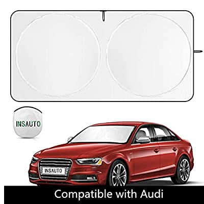 Windshield Sun Shade Compatible with Audi Q5 Q3 A4 A6, INSAUTO Front Window Sunshade Replacement for Q8 TT A3 A5 A7 A8 A9, 210T Reflective Sun Visor Cool Car Accessories (S:59.8