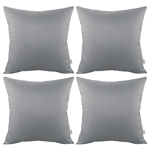 4-Pack Cotton Comfortable Solid Decorative Throw Pillow Case Square Cushion Cover Pillowcase (Cover Only,No Insert) (18x18 inch/ 45x45cm, Grey)