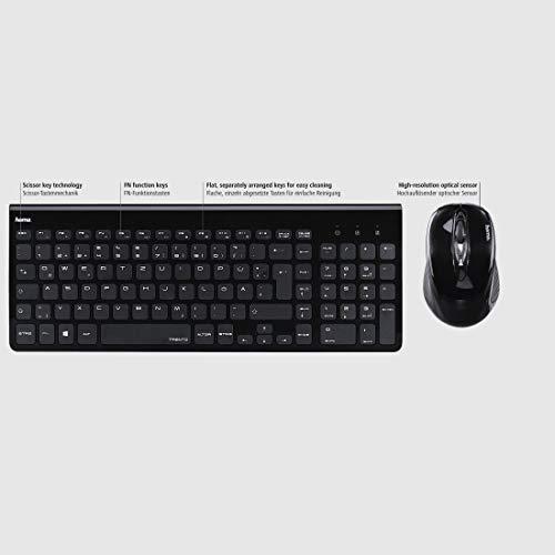Hama Funk-Tastatur mit Maus Set kabellos (leise Computer-Tastatur mit flachen Tasten, Ziffernblock, deutsches QWERTZ Layout, optische Funk-Maus, 1200 dpi, 8m Reichweite) schwarz