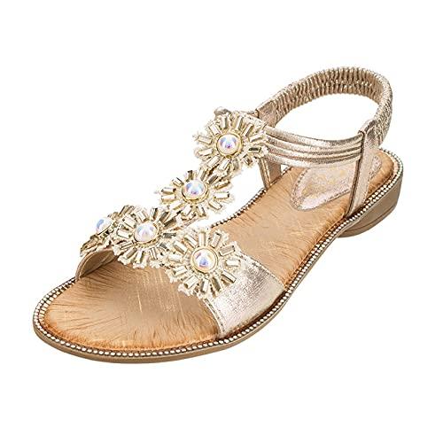 2021 Sandalias Mujer Verano Planas Moda Sandalias de Vestir Playa Chanclas para Mujer Diamante Zapatos Sandalias de Punta Abierta Bohemia casual Sandalias Fiesta Cómodo Flip flop