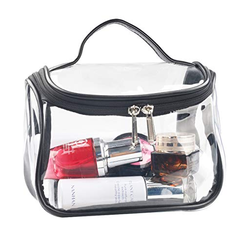 Heavy Duty Clear Cosmetic Bag Waterproof Transparent Travel Makeup Toiletry Organizer Bag (Black)