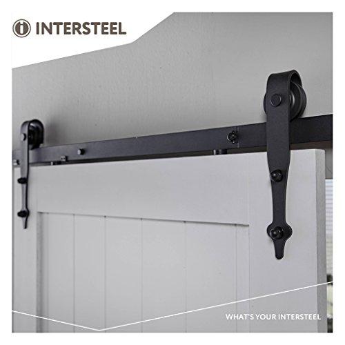 Preisvergleich Produktbild intersteel Basic matt schwarz Schiebetür System für Barn Holz Tür,  schwarz,  6.6 ft / 200 cm