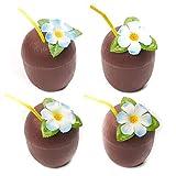 THE TWIDDLERS 12 vasos de plástico de coco reutilizables con pajitas y flores para fiestas