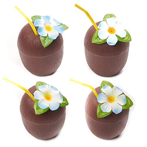 12 Stück Hawaiianische Kokonuss Kunststoffbecher mit Blume & Strohhalm