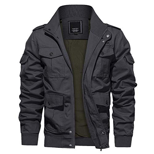 CRYSULLY Men's Stand Collar Lightweight Military Coat Outdoor with Multi Pocket Bomber Jackets Dark Grey