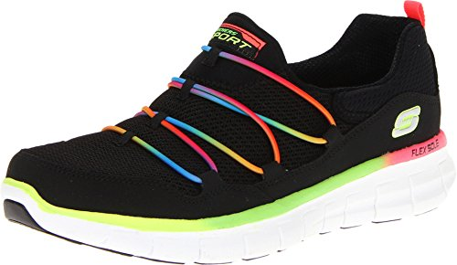 Skechers Sport Women's Loving Life Memory Foam Fashion Sneaker,Black/Multi,8 M US