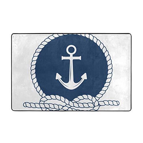 ZUL Alfombrilla baño, Alfombra de Cocina Puerta Pies Estera Felpudo,Insignia náutica con Ancla de Cuerda Redonda Blanca sobre Azul Oscuro símbolo Marineros Vela 75X45cm