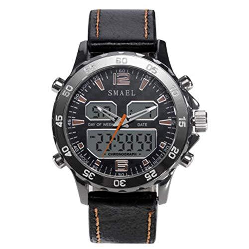SXXYTCWL Reloj Digital de los Hombres, Analógico Digital Doble Pantalla a Prueba de Agua Multifuncional 5 Pantalla electrónica Reloj Deportivo de LED al Aire Libre jianyou (Color : A)