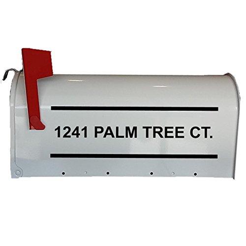 Custom Mailbox Decals Street Address Street Name Custom Feature Design Mailbox Sticker Vinyl Letters VWAQ-CMB3 (Black)