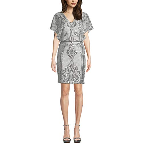 Betsy & Adam Womens Sequined Blouson Cocktail Dress Silver 4