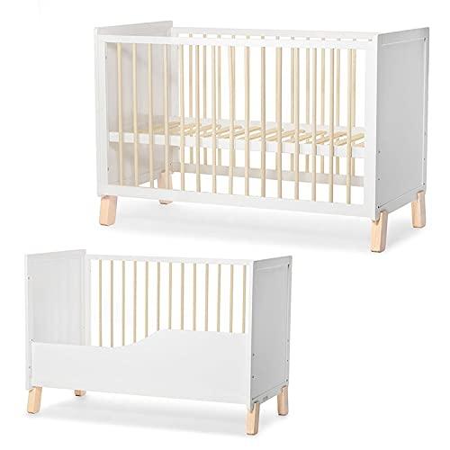 Kinderkraft Baby wooden cot NICO guardrail white - Cunas, Unisex Infantil, Blanco(white)