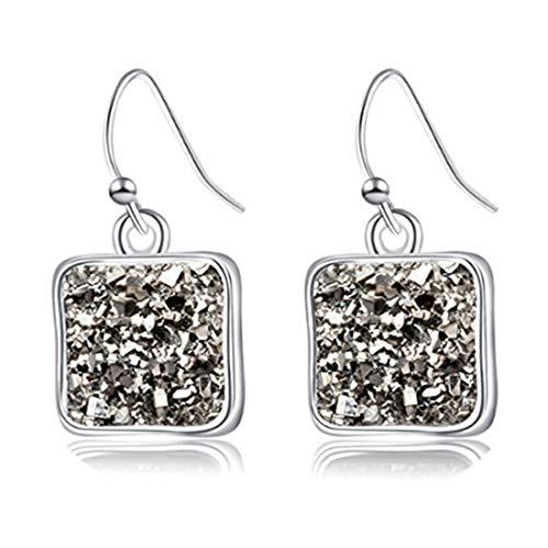 yichahu Pendientes cuadrados para mujer, diseño de Druse Love con piedra natural cuadrada concisa, regalo para amantes (plata + gris)