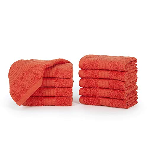 Ample Decor Tlassic Luxury Quick Dry Orange Washcloths Pack of 10 - Hotel Spa Tollection | 100% Cotton Super Soft High Absorbent Large Bathroom Face Towel | 12 x 12 Inch| Set of 10 - Orange
