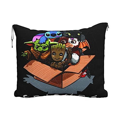 Baby Yoda Lilo Stitch Almohada de viaje Manta Portátil Viaje 2 en 1 Manta de Avión Mantas Super Softs Acogedor