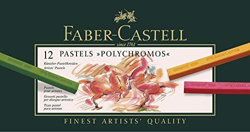 Faber-Castell 128512 - Estuche de cartón con 12 tizas pastel polychromos, multicolor