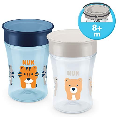 NUK Magic Cup Trinklernbecher 2er-Vorteilspack, 360° Trinkrand, auslaufsicher abdichtende Silikonscheibe, 8+ Monate, BPA-frei, 230 ml, Tiger/Bär (blau/grau)