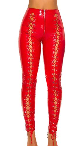 Koucla Hot Party broek in latex look met veters.