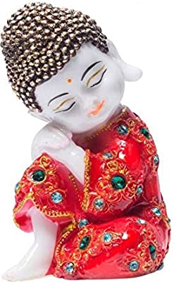 JGS Polyresin Handcrafted Baby Buddha Idol Lord Statue Religious Showpiece (Red)