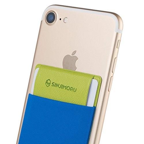 Sinjimoru Handy Kartenetui für Kreditkarten & Bargeld, Slim Wallet Smartphone Kartenhalter zum aufkleben ID Card Holder für iPhone und Android, Sinji Pouch Flap Blau.