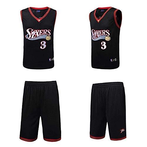 LLSDLS Camiseta NBA Set de Hombre 76 Personas Traje de Baloncesto Iverson Vintage Bordado Jersey # 3 Conjunto de Sudadera Negro # 3-XL T-Shirt Camiseta (Color : Black#3, Size : Large)