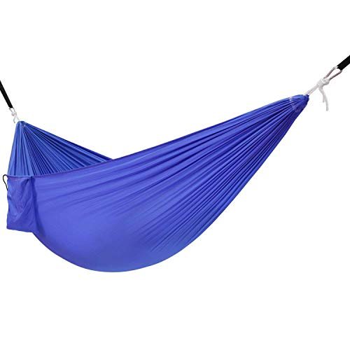 SPTAIR Hamac léger en Tissu de hamac de Parachute de hamac avec la Courroie et Le Sac de Transport - Multi Couleur Disponible Camping en Plein air (Couleur : Bleu)