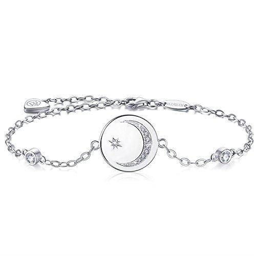 BlingGem Damen Armband aus 925 Sterling Silber mit Rundschliff Zirkonia Mond und Stern Bettelarmband Armkette Frauen Kette Einstellbar